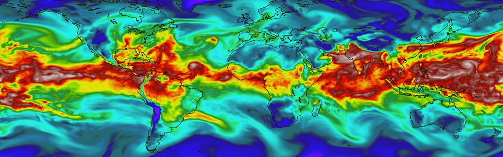 A snapshot of the column-integrated water vapor field simulated by the NCAR CAM5 model at T341 resolution.