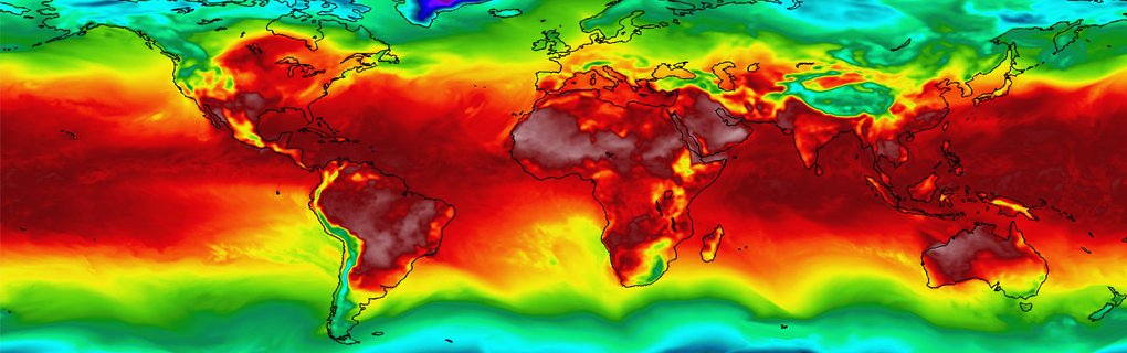 A snapshot of the surface air temperature (SAT) field simulated by the NCAR CAM5 model at T341 resolution.